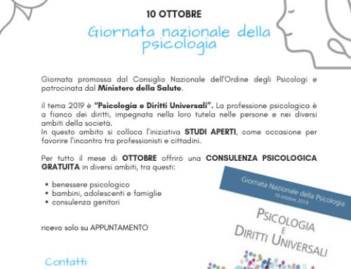 10 ottobre: Giornata Nazionale della Psicologia – STUDI APERTI